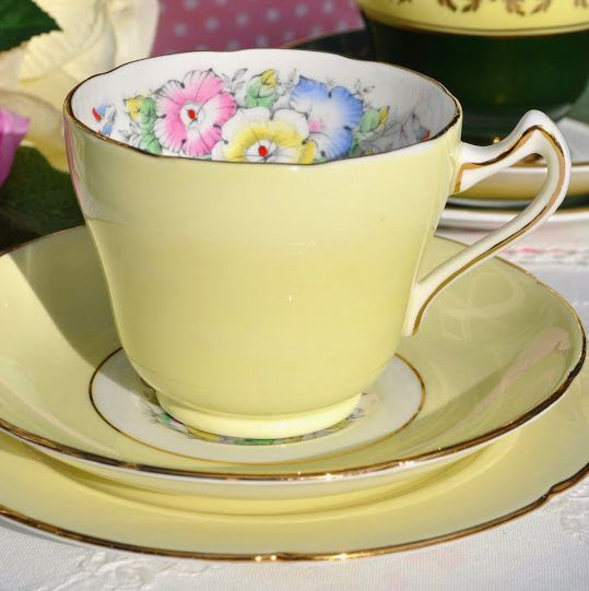 Royal Grafton Petunia Pale Yellow Vintage Teacup, Saucer and Tea Plate