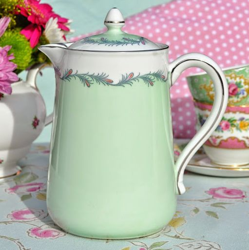 Aynsley C1602/2 Vintage China Pale Green and Platinum Hot Water Pot