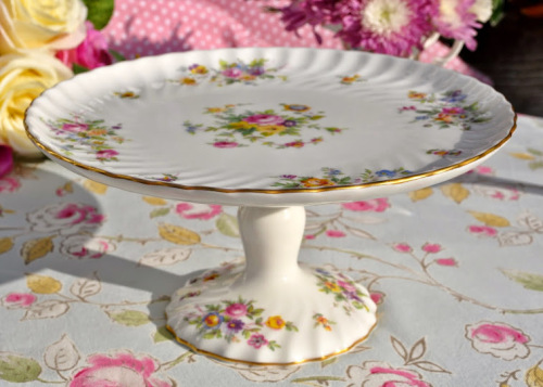 Minton Marlow Floral English Vintage Bone China Cake Comport c.1950's