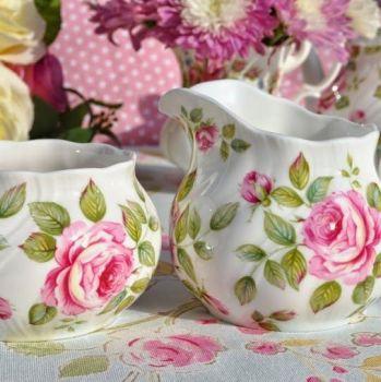 Queen's Cottage Garden Pink Rose China Milk Jug and Sugar Bowl