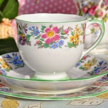 Roslyn Country Ramble Vintage Teacup, Saucer and Tea Plate Trio c.1940