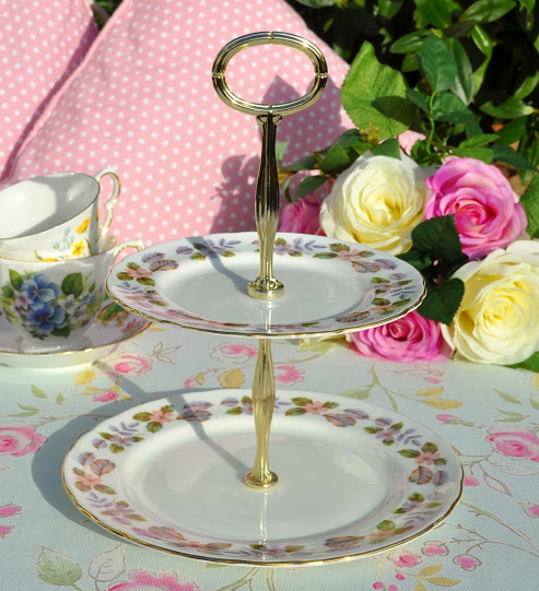 Aynsley April Rose Bone China Vintage Two-Tiered Cake Stand