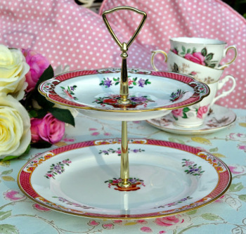 Copeland Spode Pink Floral 2 Tier Cake Stand with Solid Brass Centre Fittings c.1927