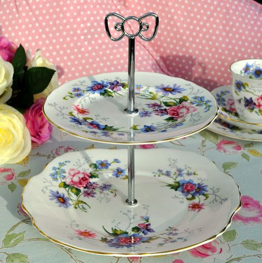 Crown Staffordshire Floral Fine Bone China Vintage 2 Tier Cake Stand