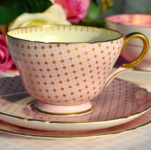 Shelley Fine Bone China Pink and Gold Stars Vintage Teacup, Saucer and Tea
