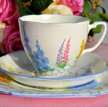 Grafton China Hand Painted Art Deco Teacup Trio c.1935+