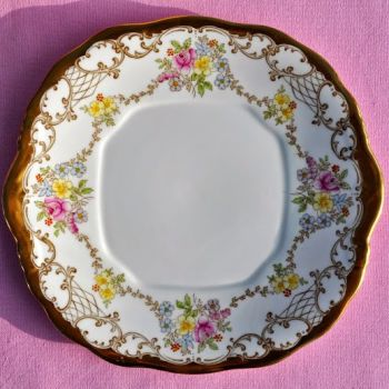 Salisbury Chelsea Pattern Gold and Floral Vintage China Cake Plate c.1930's
