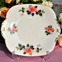 Windsor China Pink Rose Vintage China Cake Plate c.1960's
