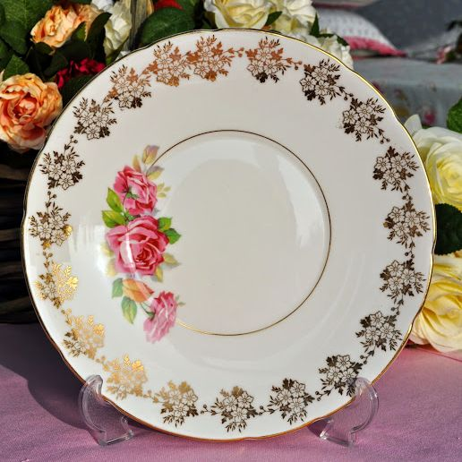 Old Royal Pink Rose and Gold Vintage China Cake Plate c.1940's