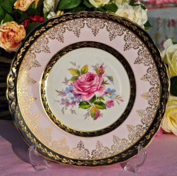 Imperial China Pink Rose and 22kt Gold Vintage China Cake Plate c.1940's