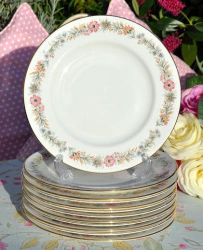 Paragon Belinda Pattern Vintage Bone China 20.5cm Salad Plates x 6