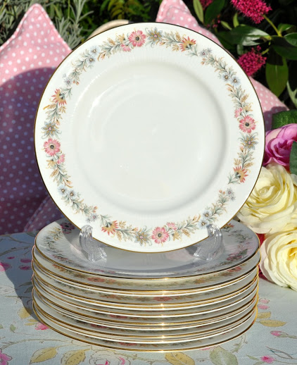 Paragon Belinda Pattern Vintage Bone China 20.5cm Salad Plates x 6