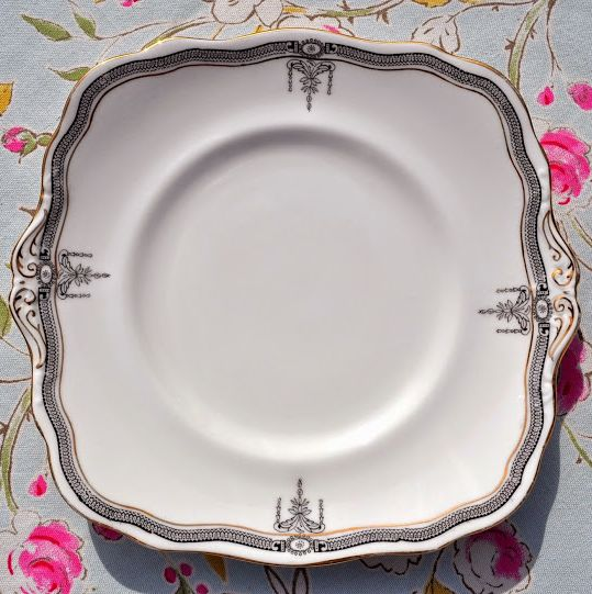 Paragon Star China Antique Black, White and Gold Cake Plate c.1914