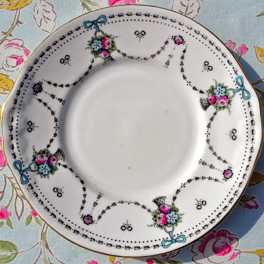 Antique Wellington China Baskets and Bows China Cake Plate c.1906