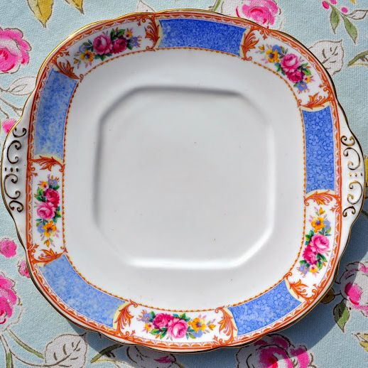 Antique Taylor and Kent Blue and Floral Panels China Cake Plate c.1914+