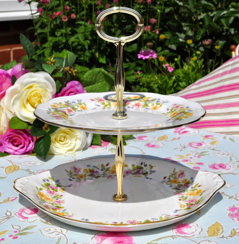 Colclough Hedgerow Pattern Vintage China 2 tier Cake Stand
