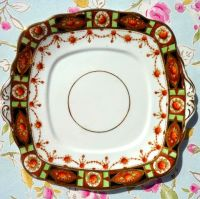 Roslyn Imari Style Lime Green & Terracotta Cake Plate c.1924+