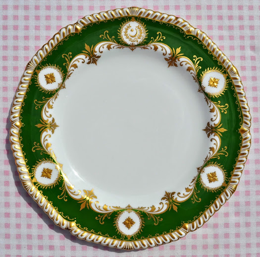 Royal Crown Derby Green and Gold Decorated Cake Plate c.1955