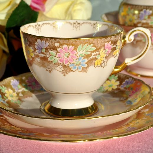 Tuscan Pastel Pink, Gold and Floral Fine China Teacup Trio c.1947+