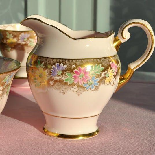 Tuscan Pastel Pink, Gold and Floral Fine China Milk Jug and Sugar Bowl c.19
