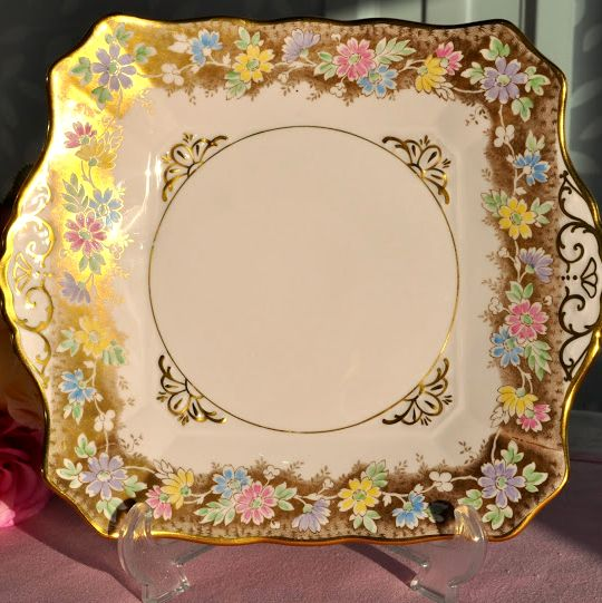 Tuscan Pastel Pink, Gold and Floral Fine China Cake Plate c.1947+