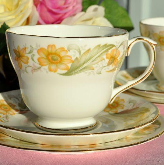 Duchess Greensleeves Vintage Breakfast Teacup, Saucer and Tea Plate Trio