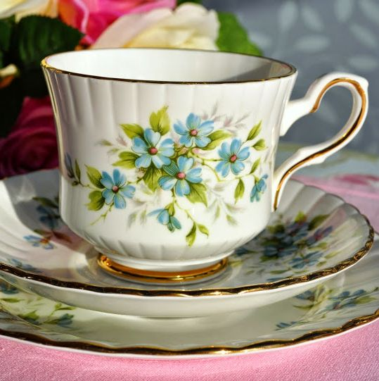 Royal Stafford Coquette Vintage Bone China Teacup, Saucer and Tea Plate