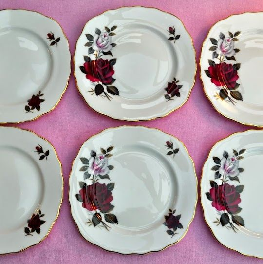 Colclough Red and Blush Rose Vintage China Tea Plates x 6