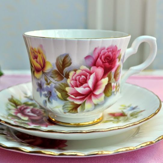 Royal Stafford Pink and Yellow Floral Vintage China Teacup Trio c.1950's