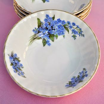 Sheltonian Bone China Blue Forget Me Nots Dessert, Soup Bowls Set of 5
