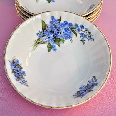 Sheltonian Bone China Blue Forget Me Nots Dessert, Soup Bowl Set of 5