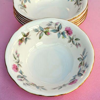 Duchess Bramble Rose Vintage Bone China Bowls Set of Six