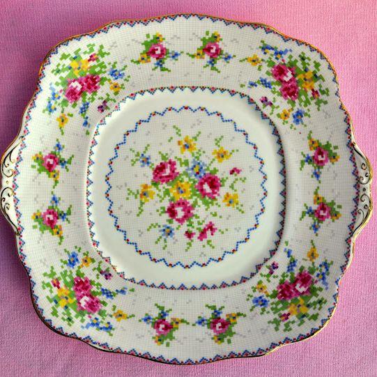 Royal Albert Petit Vintage Bone China Cake PLate Reg No.778676 c.1932
