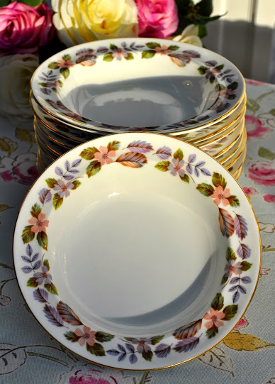 Aynsley April Rose Vintage Bone China Dessert Dishes