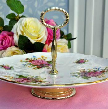 Royal Stafford Floral Vintage Bone China Comport Cake Stand