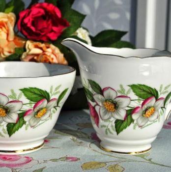 Regency Christmas Rose Vintage Milk Jug and Sugar Bowl