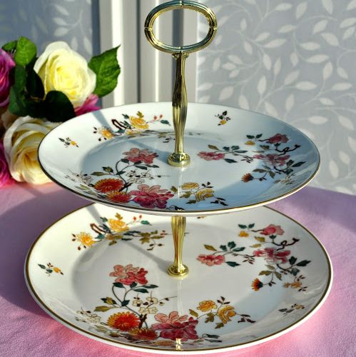 Royal Albert China Garden New Romance Two-Tiered Cake Stand
