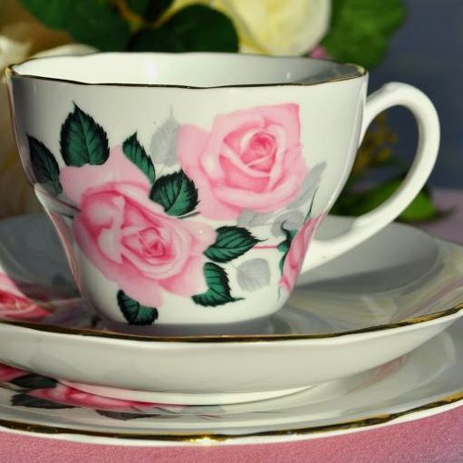 Roslyn Pink Roses Vintage Teacup, Saucer and Tea Plate c.1958-63