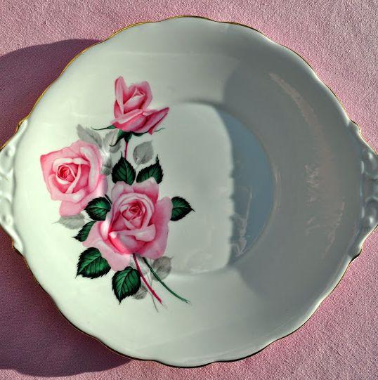 Roslyn Pink Roses Vintage Fine Bone China Cake Plate c.1958-63