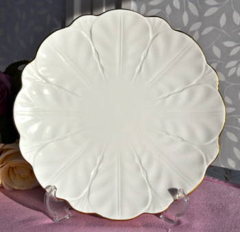 Aynsley Golden Crocus English Fine White and Gold China Cake Plate