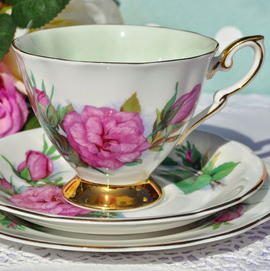 World Famous Roses Prelude Pattern Vintage China Teacup Trio c.1960's