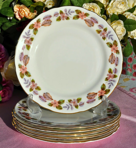 Aynsley April Rose Pattern Set of Six 21cm Vintage Bone China Plates