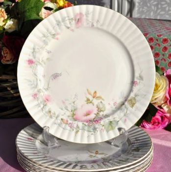 Royal Stafford Pastel Pink Floral Vintage China 26cm Dinner Plates
