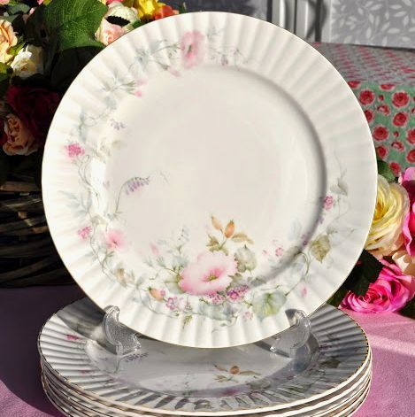 Royal Stafford Pastel Pink Floral Vintage English China Dinner Plates x 6