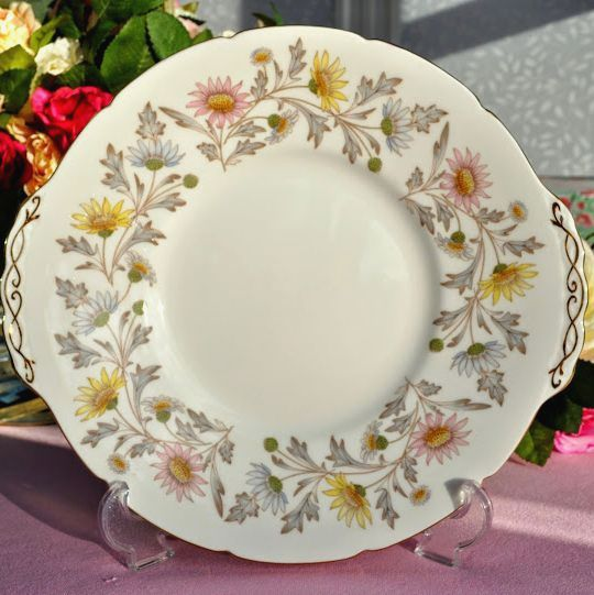 Coalport Chrysanthemum Pattern Vintage Bone China Cake Plate