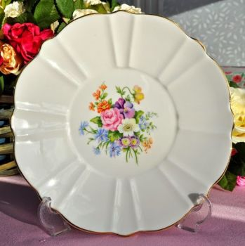 Old Royal Flower Shaped Floral China Cake Plate c.1940's