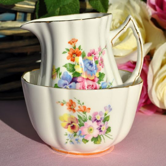 Old Royal Fluted Shaped Vintage Floral China Milk Jug and Sugar Bowl c.1940