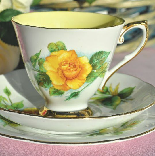 Roslyn World Famous Roses Mme Ch Sauvage Vintage China Teacup Trio