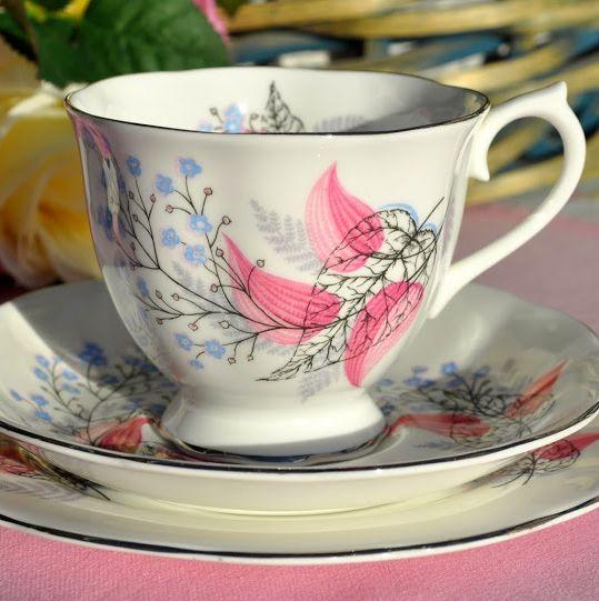 Royal Albert Fancy Free Vintage Bone China Teacup, Saucer and Tea Plate