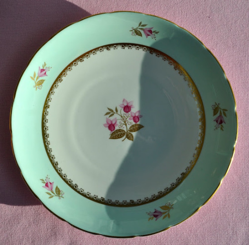 Sutherland Vintage China Duck Egg Blue and Pink Fuschia Cake Plate